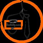 icône représentant un consultant tenant une pancarte de demande de contact