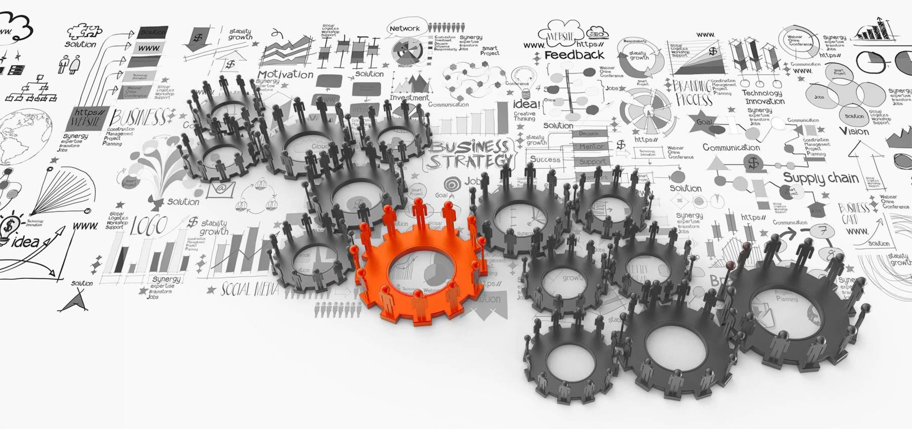 engrenages représentants la stratégie opérationnelle au sein d'une entreprise