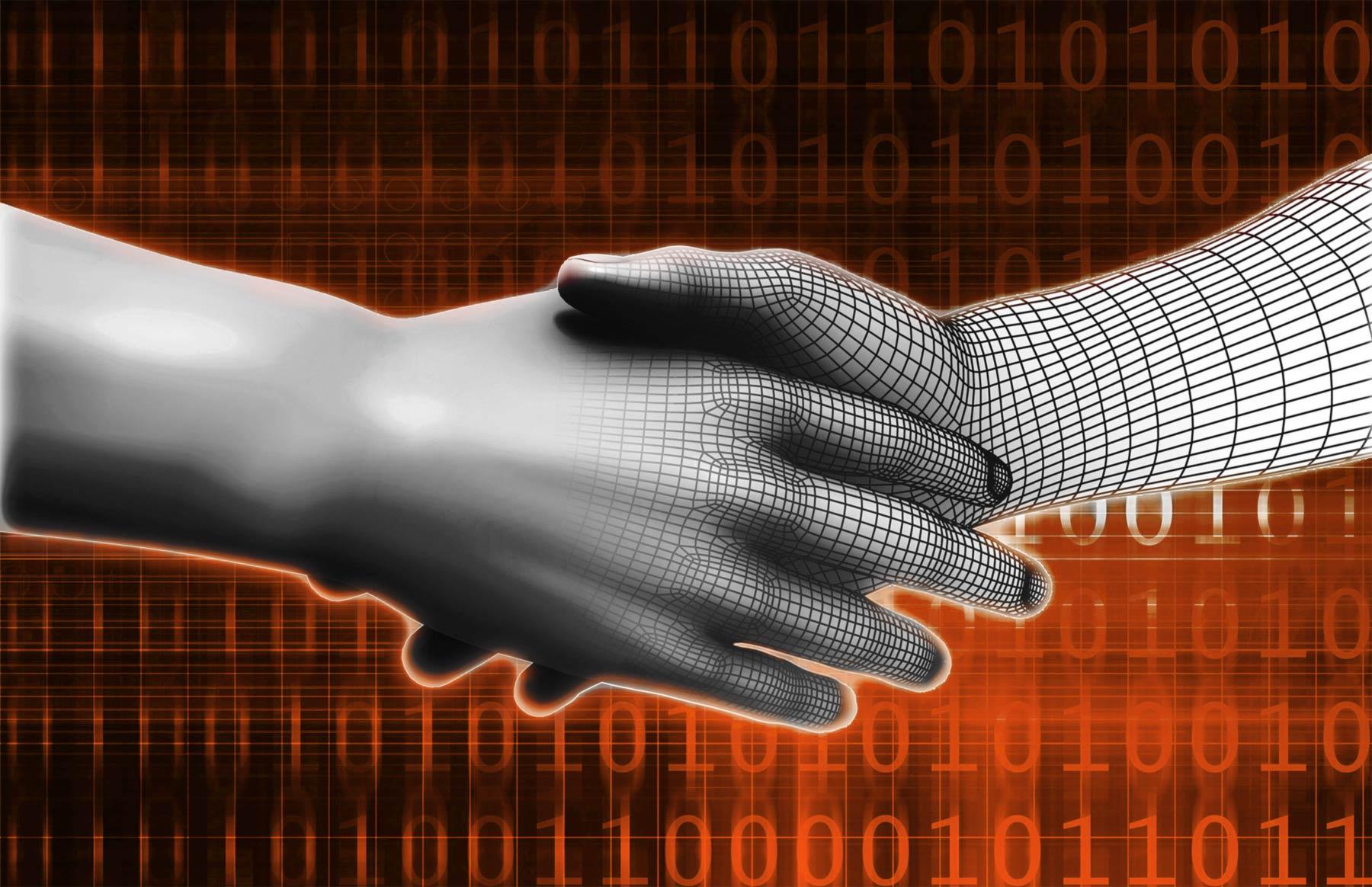 poignée de main mi humaine, mi numérique représentant le passage de la stratégie à la réalité digitale